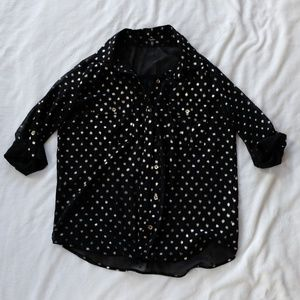 Monteau Semi Sheer Black with Gold Dots Blouse